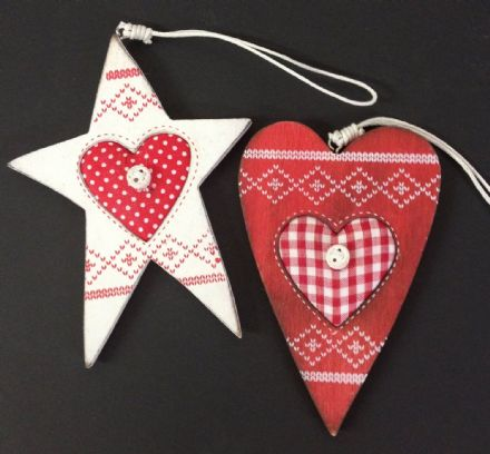 Nordic Wooden Christmas Tree Ornaments - White Star & Red Heart